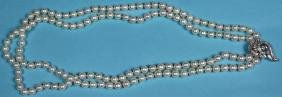 CULTURED PEARL, PLATINUM, AND DIAMOND NECKLACE