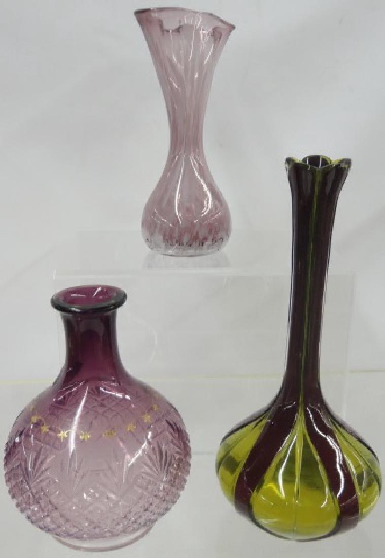 *3 ART GLASS VASES