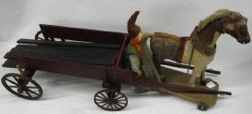 FOLK ART HORSE DRAWN WAGON