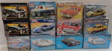 12 MONOGRAM PLASTIC MODEL CAR KITS