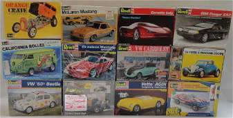 12 REVELL PLASTIC MODEL CAR KITS