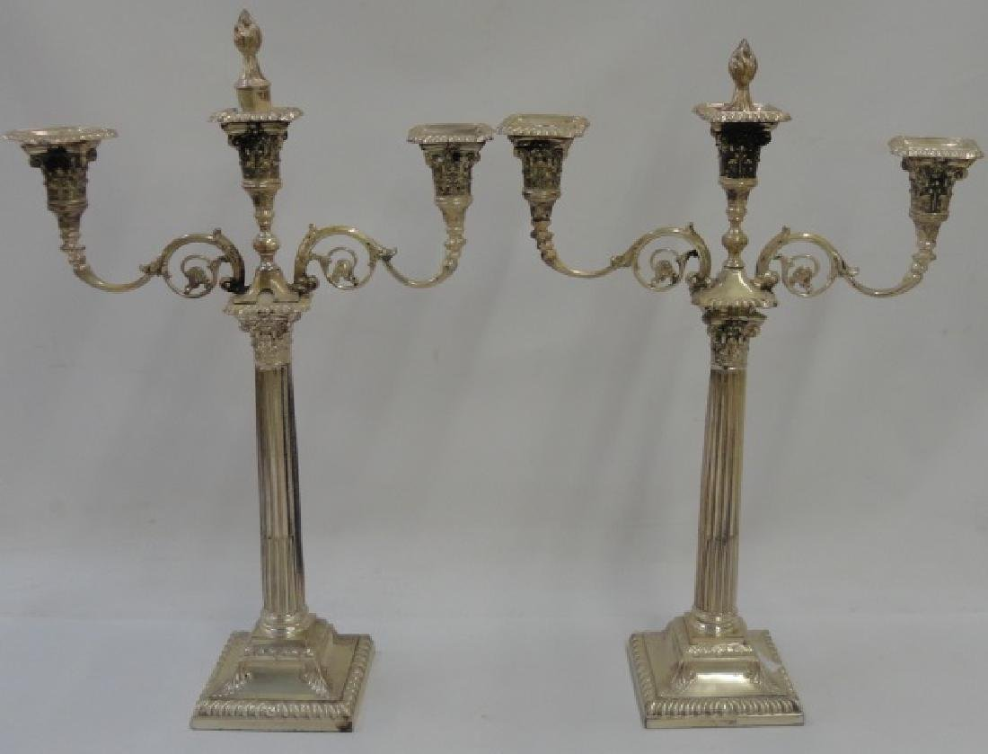 *PAIR OF ENGLISH STERLING SILVER CANDELABRA