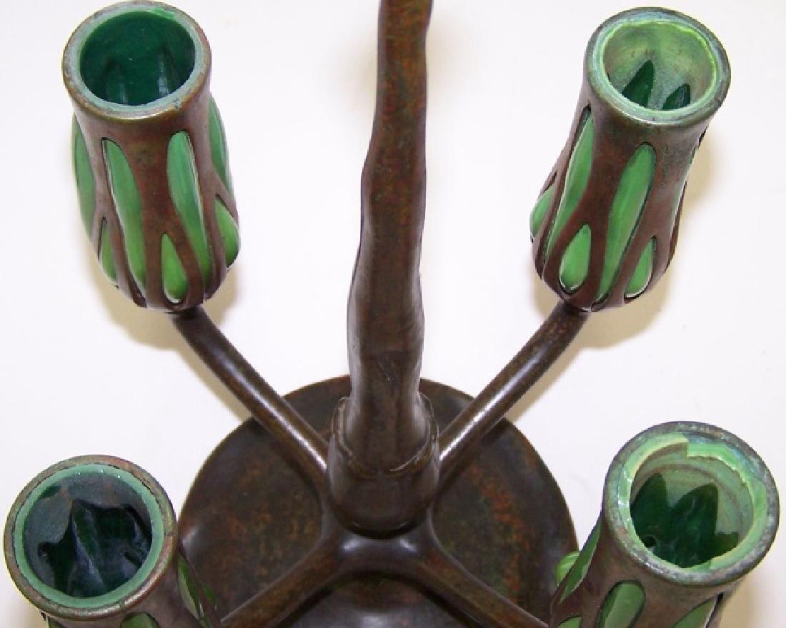 *TIFFANY BRONZE & GLASS 4 ARM CANDELABRA - 6