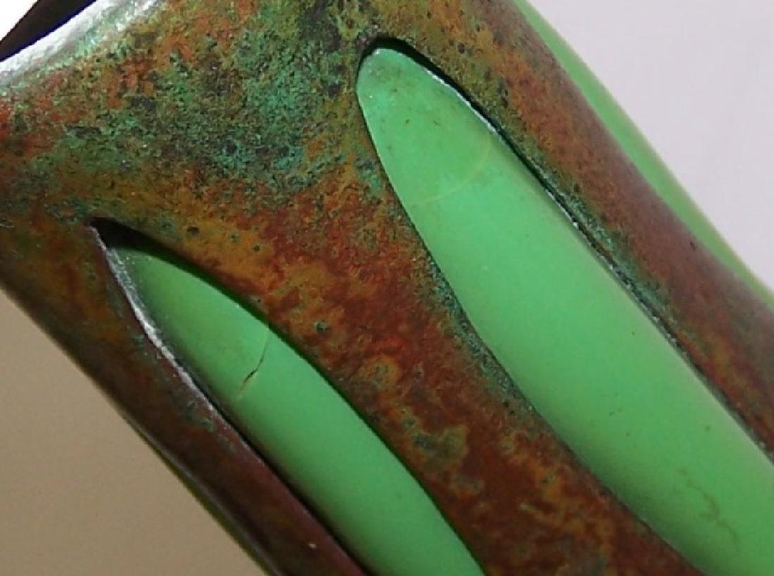 *TIFFANY BRONZE & GLASS 4 ARM CANDELABRA - 7