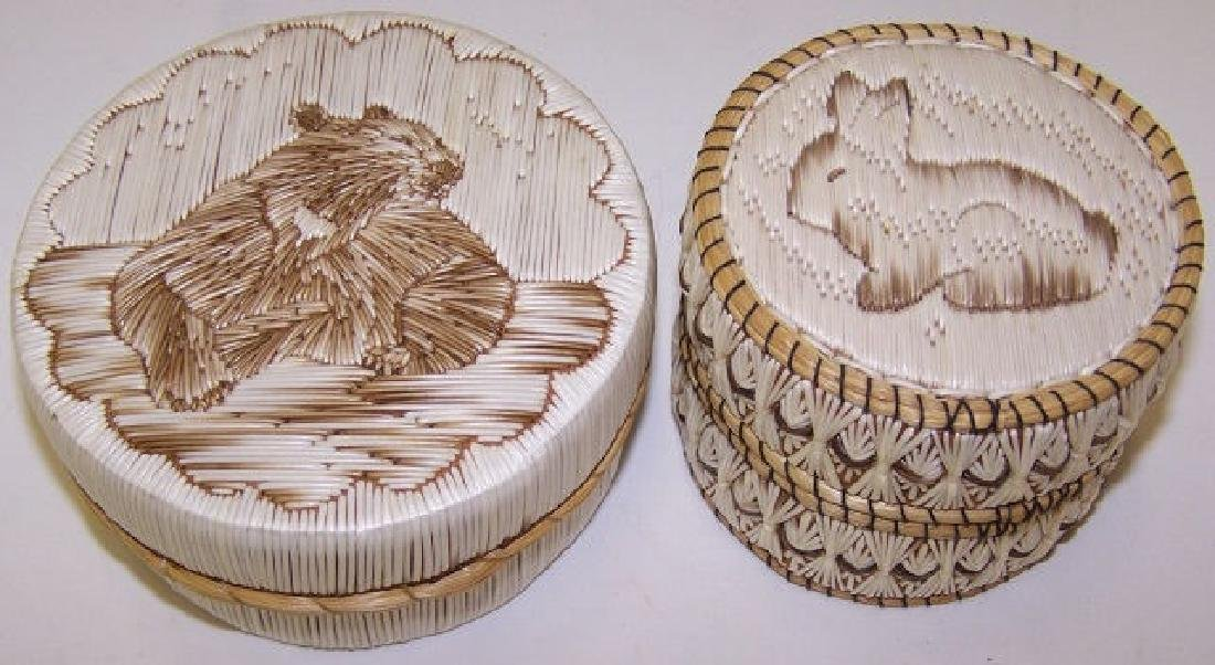 *2 NATIVE AMERICAN QUILL BASKETS