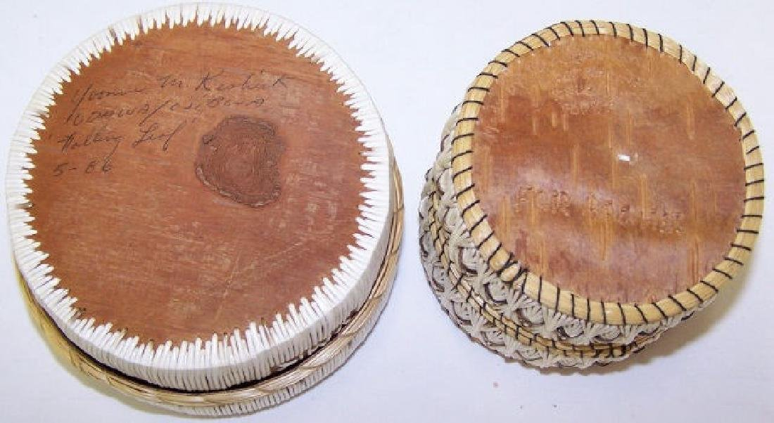 *2 NATIVE AMERICAN QUILL BASKETS - 3