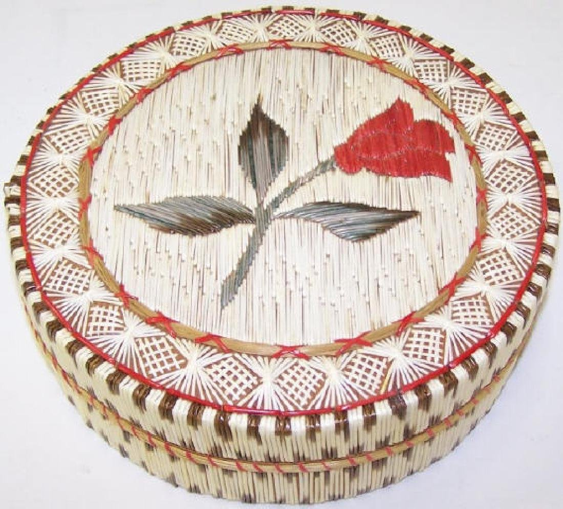 *NATIVE AMERICAN QUILL BASKET