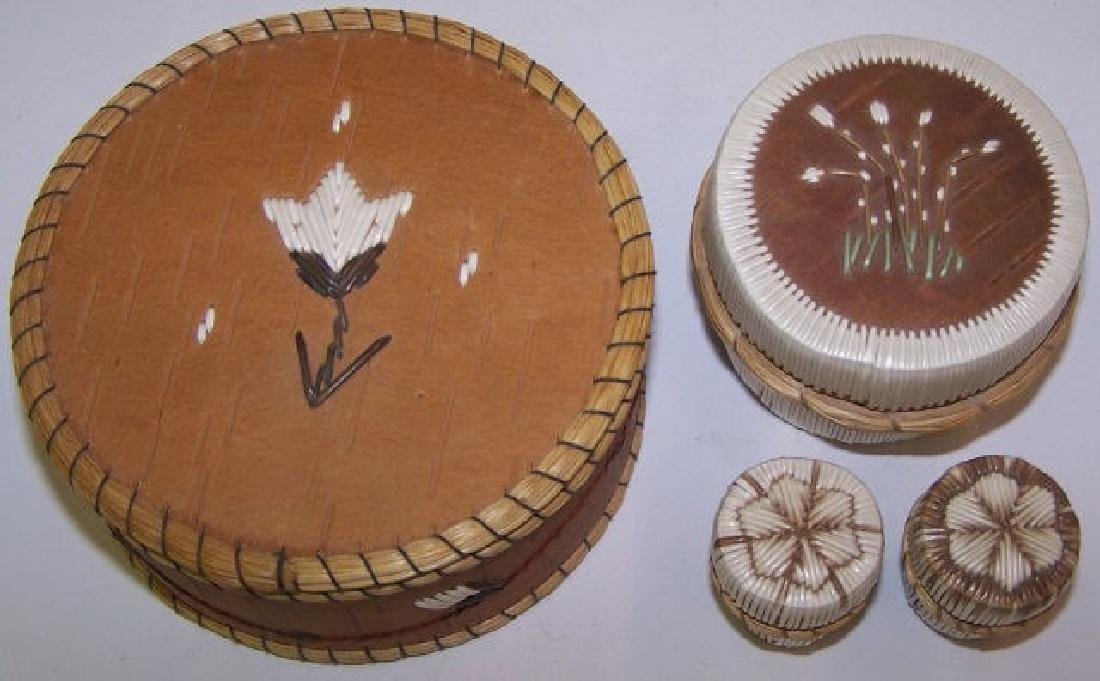*4 NATIVE AMERICAN QUILL BASKETS