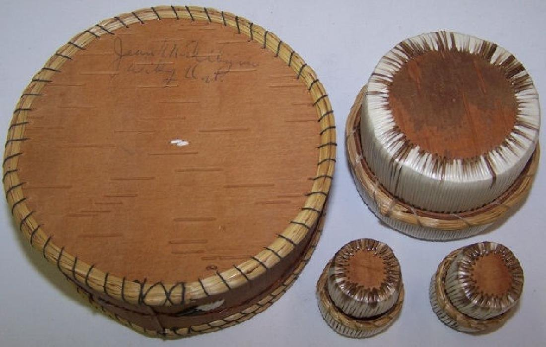*4 NATIVE AMERICAN QUILL BASKETS - 2