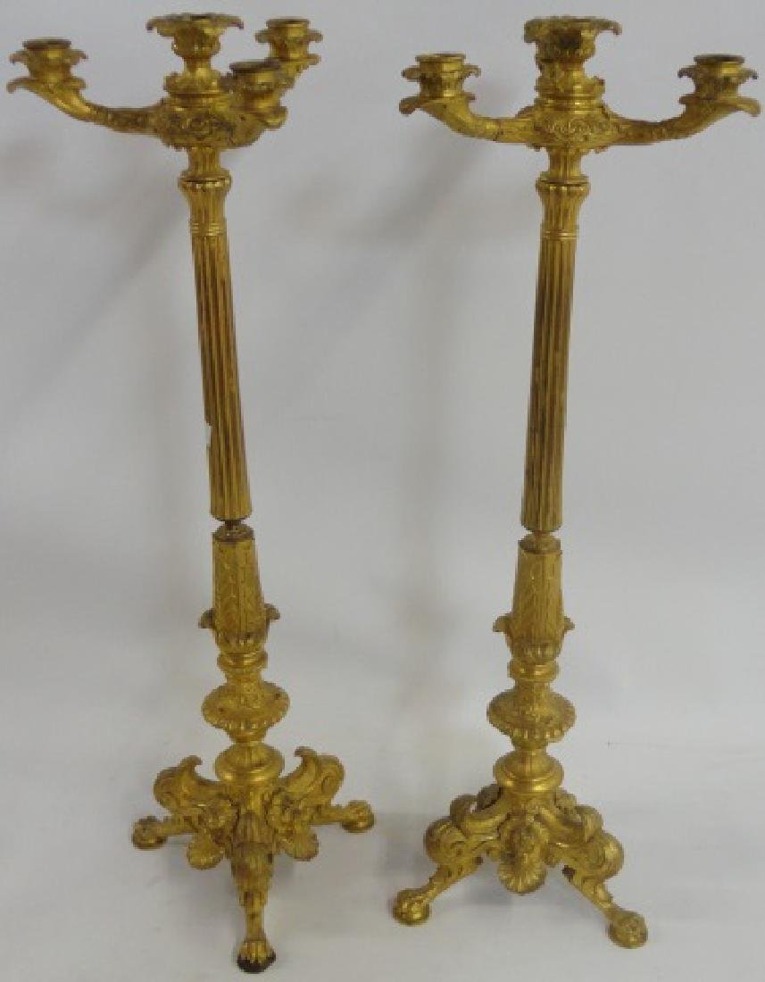 *PAIR OF BRONZE CLASSICAL STYLE CANDELABRA