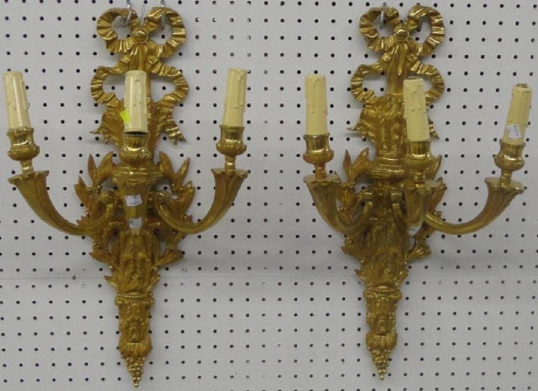PAIR OF FRENCH STYLE BRONZE WALL SCONCES