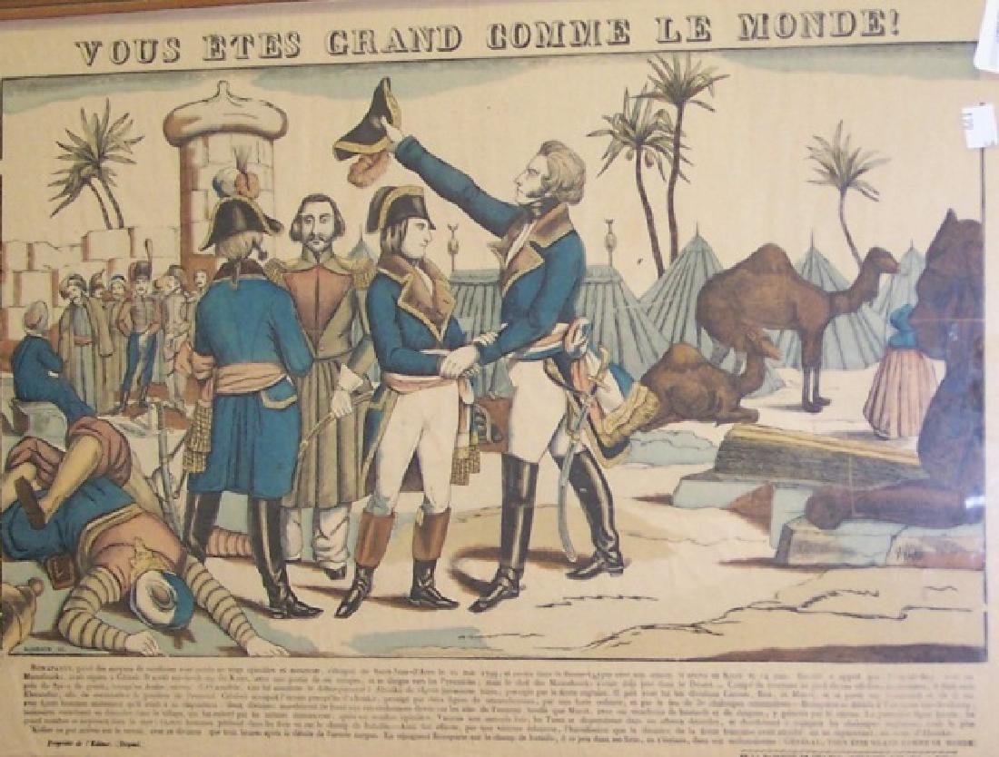 *FRAMED ANTIQUE FRENCH COLORED LITHOGRAPH - 2