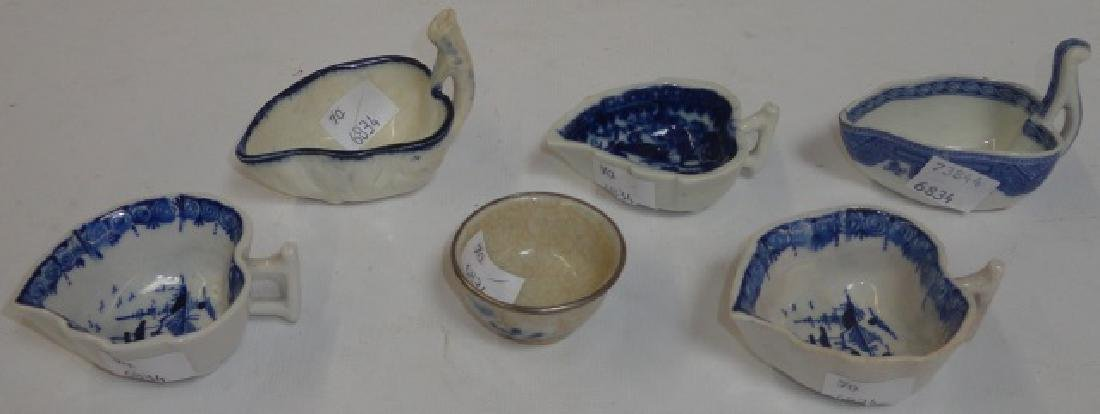 *6 19TH C. BLUE AND WHITE PORCELAIN SALTS