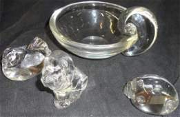 4 PIECES OF STEUBEN CRYSTAL