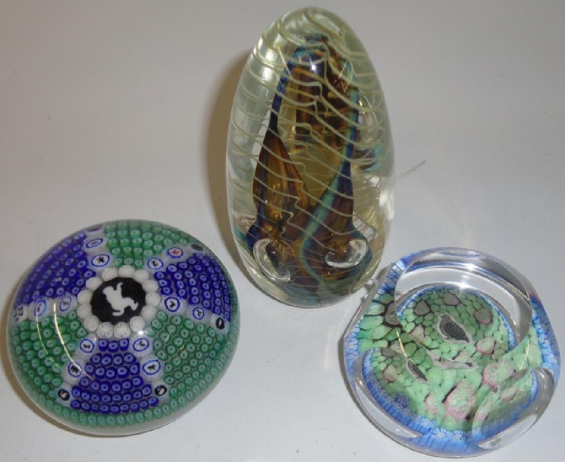 *3 ART GLASS PAPERWEIGHTS