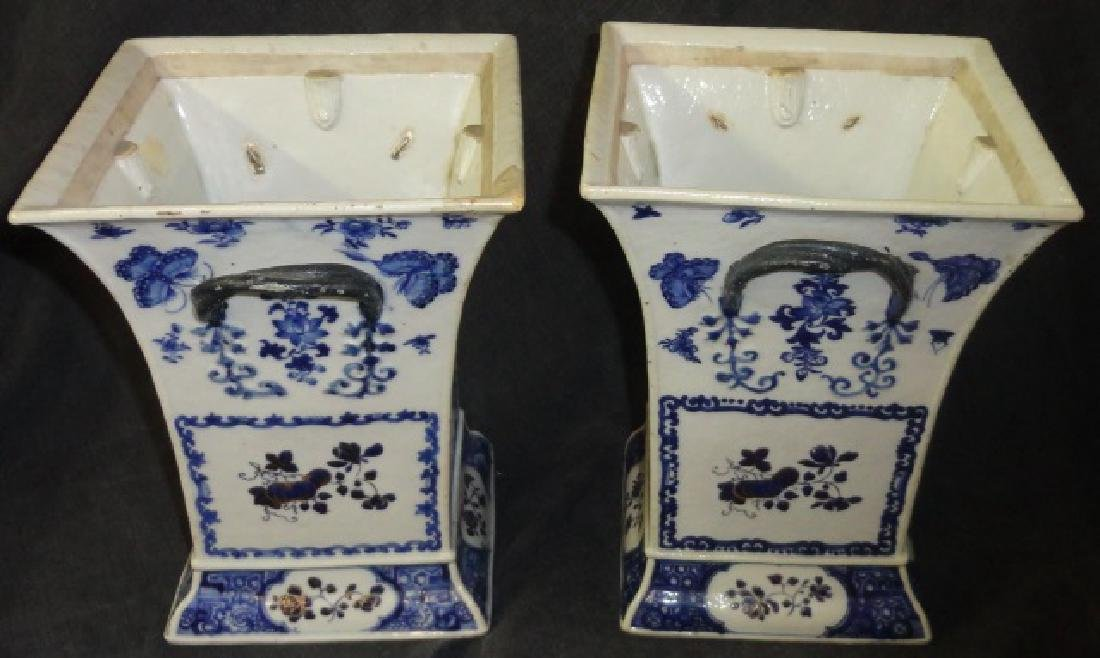 *PAIR OF CHINESE BLUE AND WHITE PORCELAIN VASES - 2