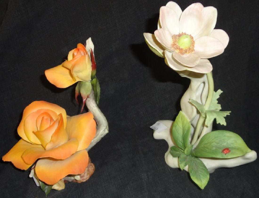 *2 PORCELAIN FLORAL GROUPINGS