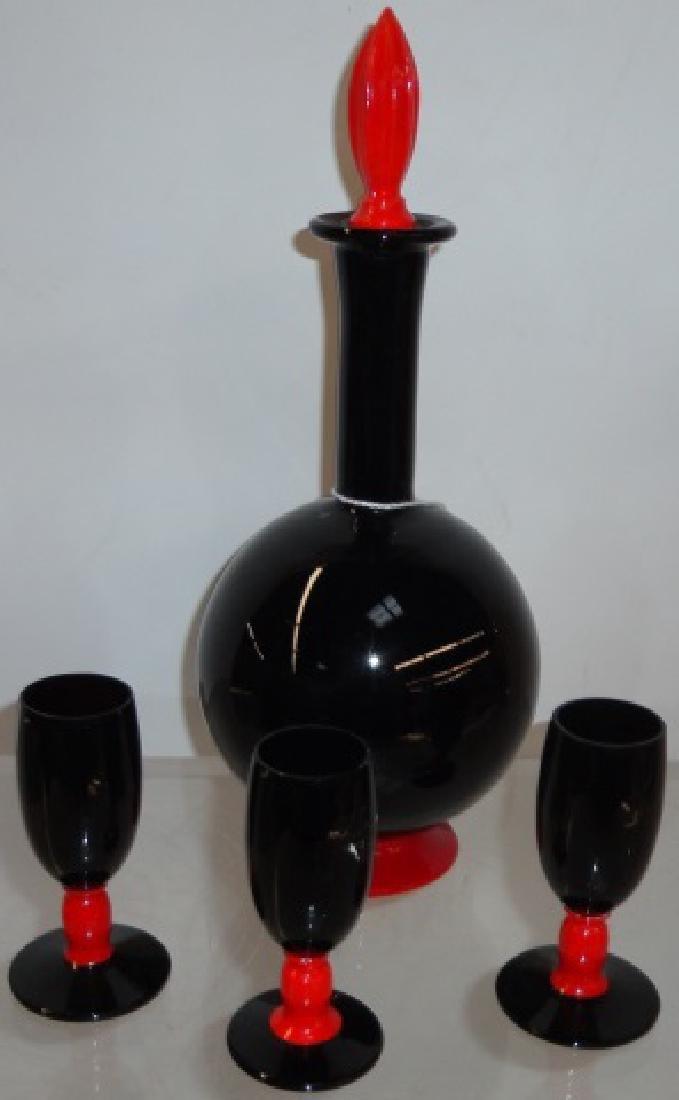 4-PIECE ART GLASS LIQUEUR SET