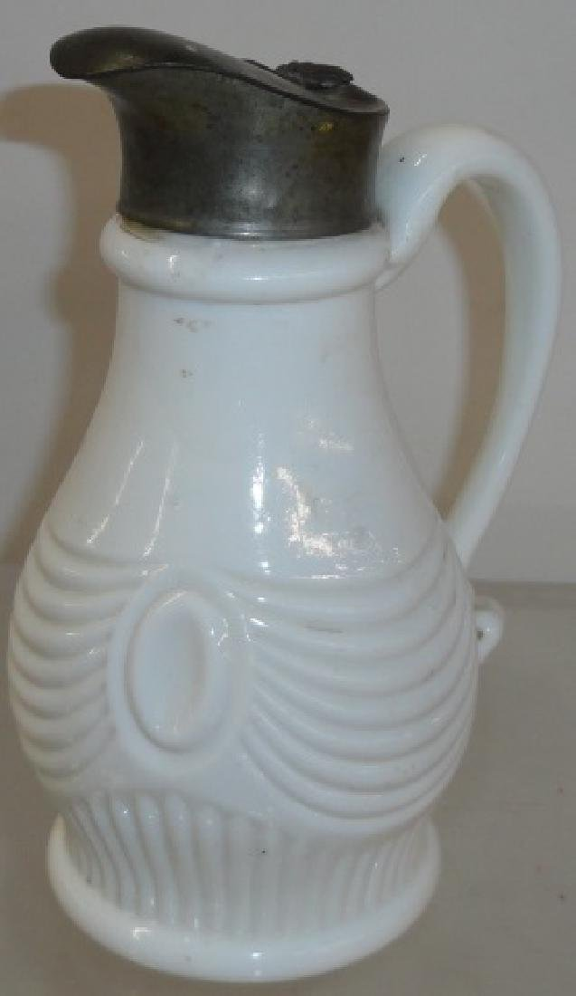 MID 19TH C. MILK GLASS SYRUP