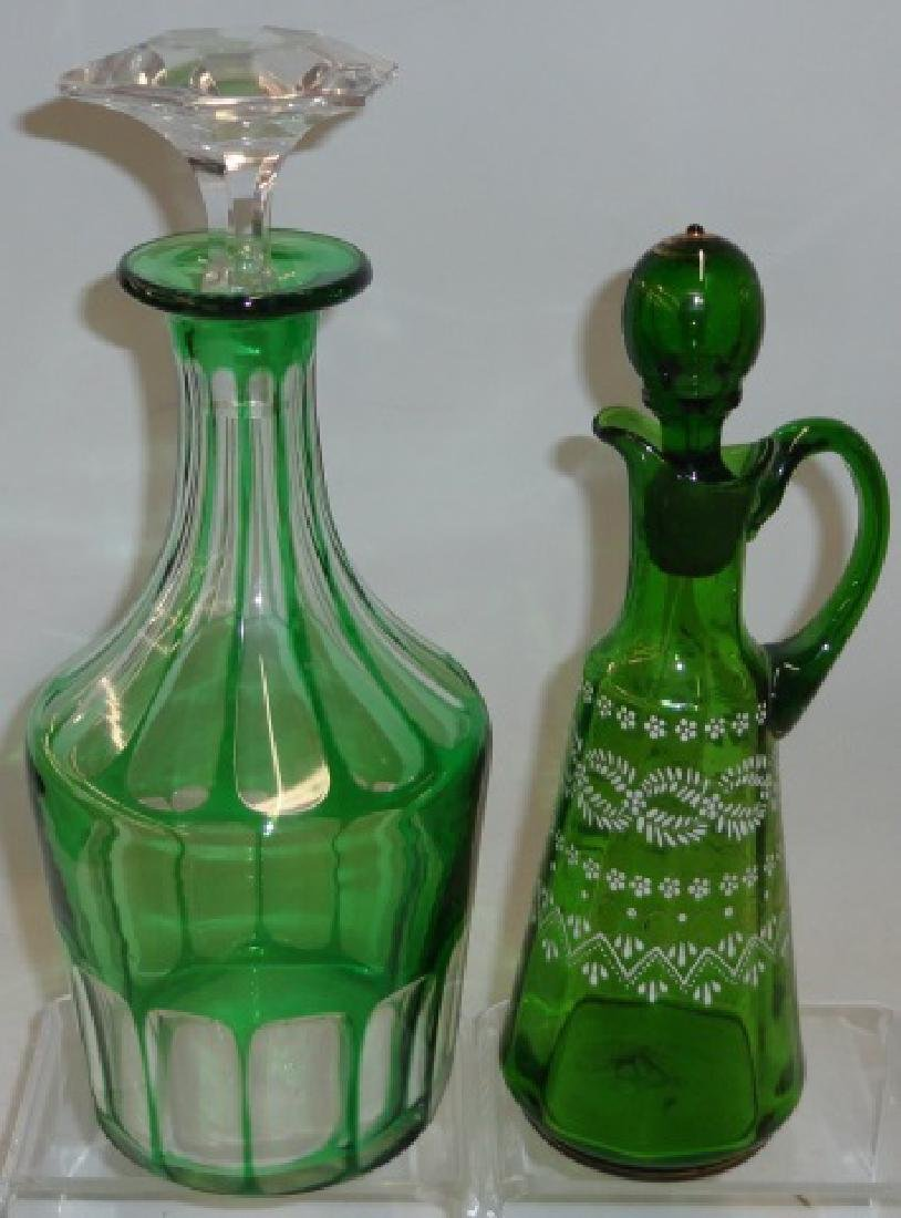 2 PIECES OF EMERALD GLASS