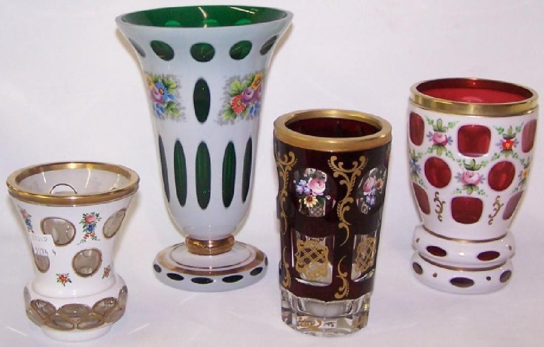 4 BOHEMIAN GLASS VASES