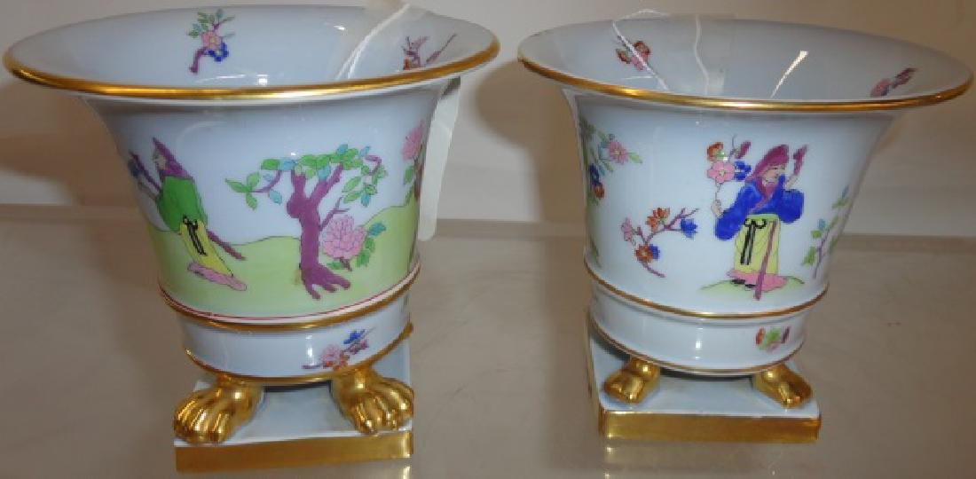 PAIR OF HEREND PORCELAIN URNS