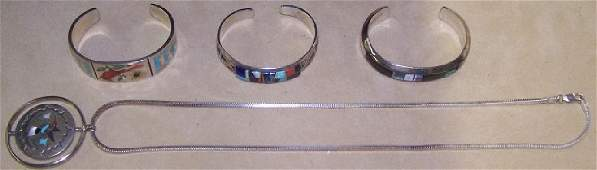 GROUP SOUTHWEST NATIVE AMERICAN SILVER JEWELRY