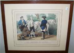 FRAMED CURRIER  IVES HANDTINTED STONE LITHOGRAPH