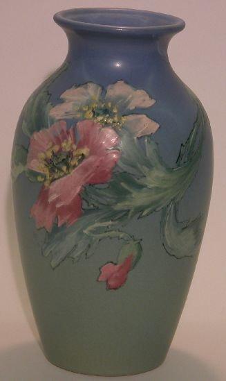 1004A: WELLER HUDSON ART POTTERY VASE| Shaded blue gree