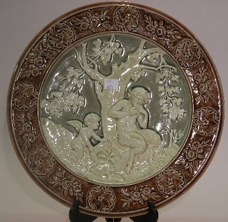 1012: AUSTRIAN MAJOLICA CHARGER| Depicting satyr and