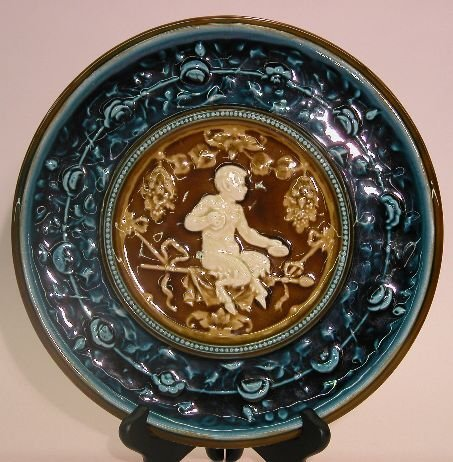 1013: AUSTRIAN MAJOLICA CHARGER| Depicting young satyr