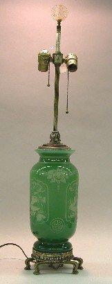 1019: STEUBEN GREEN GLASS TABLE LAMP| Having acid cut J