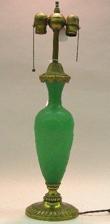 1020: STEUBEN GREEN JADE GLASS TABLE LAMP| Having acid