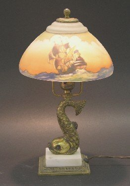 1021: PAIRPOINT REVERSE PAINTED BOUDOIR LAMP| Fitted wi