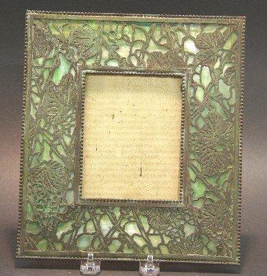 1023: ART NOUVEAU BRONZE AND GREEN SLAG GLASS PICTURE F