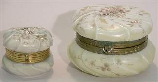 1034 TWO WAVECREST VICTORIAN ART GLASS COVERED BOXES