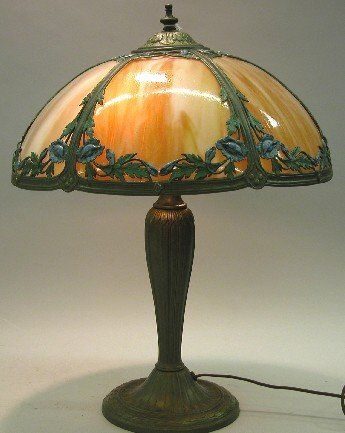 ***ART NOUVEAU SLAG GLASS TABLE LAMP| Fitted with