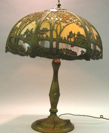 ***ART NOUVEAU SLAG GLASS TABLE LAMP  Fitted with