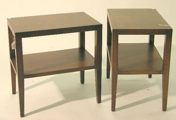 1518: PAIR OF BURLED ELM SIDE TABLES| Made by Samuel Ma