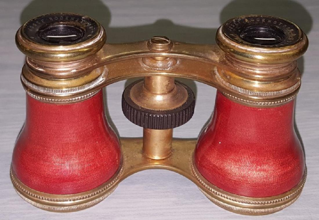 *PAIR OF ENAMEL AND BRASS OPERA GLASSES