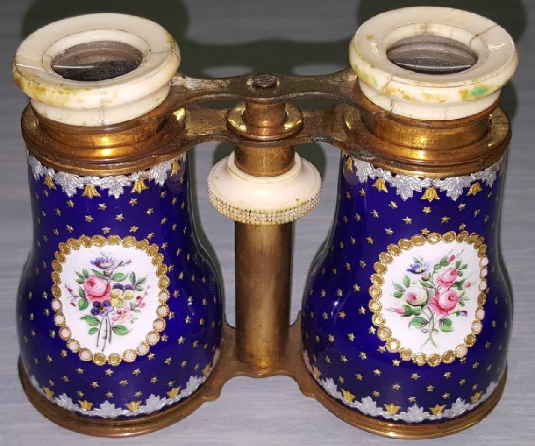 *PAIR OF ENAMEL, BRASS, AND BONE OPERA GLASSES