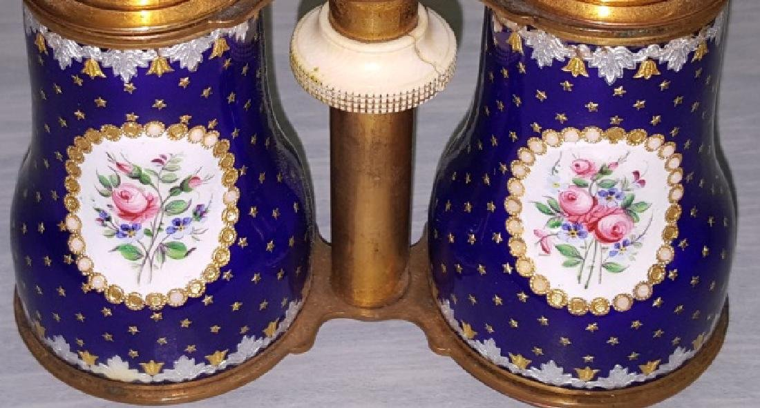 *PAIR OF ENAMEL, BRASS, AND BONE OPERA GLASSES - 4