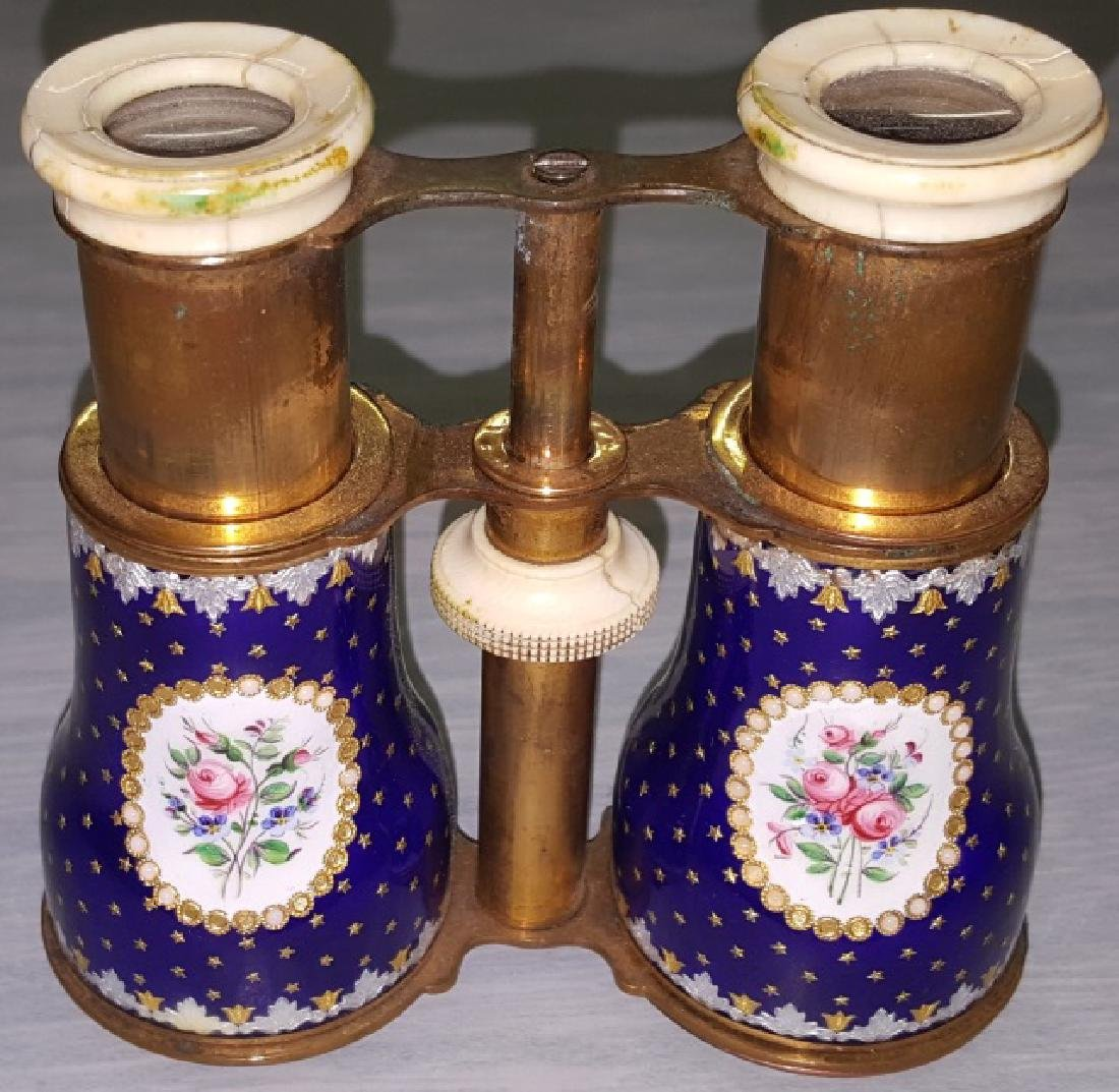 *PAIR OF ENAMEL, BRASS, AND BONE OPERA GLASSES - 5