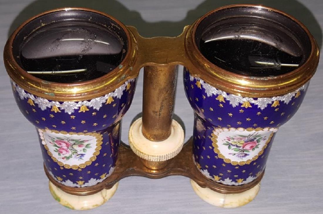 *PAIR OF ENAMEL, BRASS, AND BONE OPERA GLASSES - 6