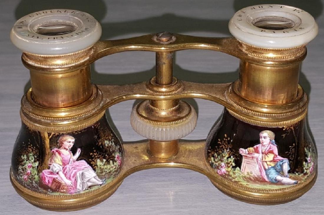 *PAIR OF ENAMEL AND BRASS OPERA GLASSES - 2
