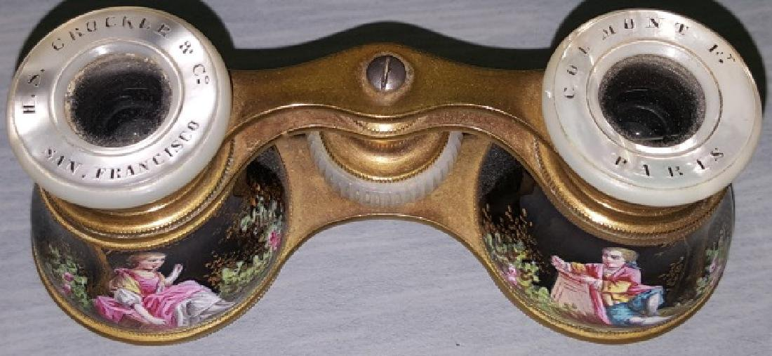 *PAIR OF ENAMEL AND BRASS OPERA GLASSES - 5
