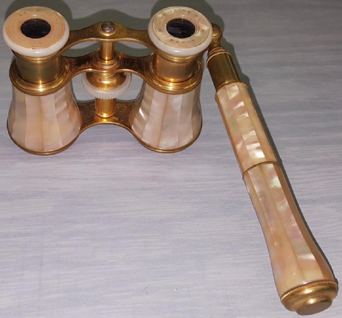 *PAIR OF BRASS AND MOTHER-OF PEARL OPERA GLASSES - 3