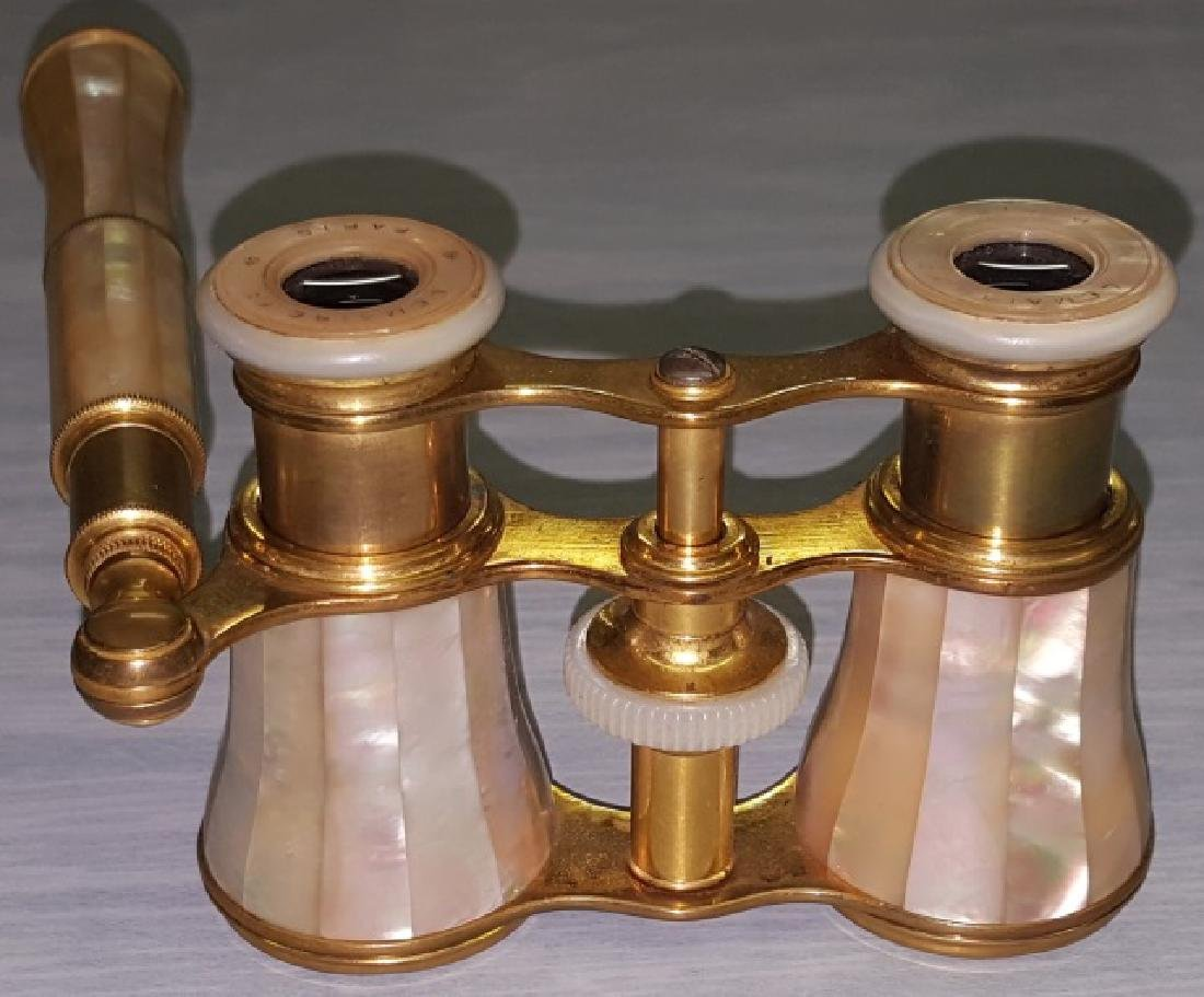 *PAIR OF BRASS AND MOTHER-OF PEARL OPERA GLASSES - 5