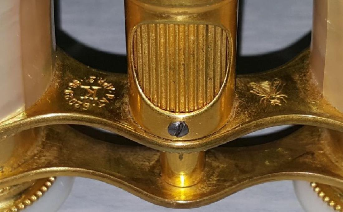 *PAIR OF MOTHER-OF-PEARL AND BRASS OPERA GLASSES - 8
