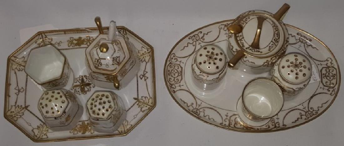 *2 NIPPON PORCELAIN CONDIMENT SETS